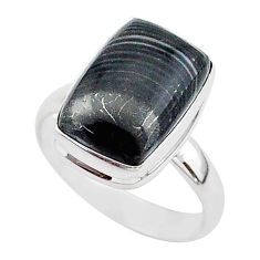 7.07cts natural black psilomelane 925 silver solitaire ring size 9 r95689