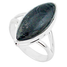 10.70cts natural black psilomelane 925 silver solitaire ring size 9 r95720