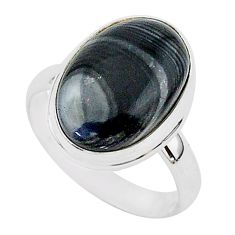 10.75cts natural black psilomelane oval 925 silver solitaire ring size 9 r95759