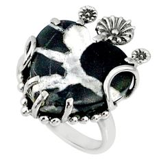 13.15cts natural black septarian gonads 925 silver heart ring size 7 r67513
