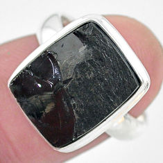 5.62cts natural black shungite 925 silver solitaire ring jewelry size 6 t22407