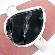5.11cts natural black shungite 925 silver solitaire ring jewelry size 6 t22412