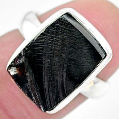 6.02cts natural black shungite 925 silver solitaire ring jewelry size 6 t22418