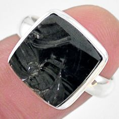 5.83cts natural black shungite 925 silver solitaire ring jewelry size 7 t22404