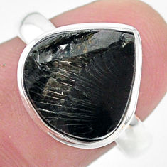 5.38cts natural black shungite 925 silver solitaire ring jewelry size 8 t22419