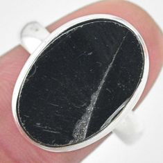 11.66cts natural black shungite 925 silver solitaire ring jewelry size 9 t22415