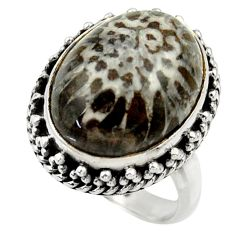 Natural black stingray coral from alaska 925 silver solitaire ring size 6 r28819