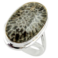 Natural black stingray coral from alaska 925 silver solitaire ring size 8 r28725