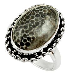 Natural black stingray coral from alaska 925 silver solitaire ring size 8 r28728