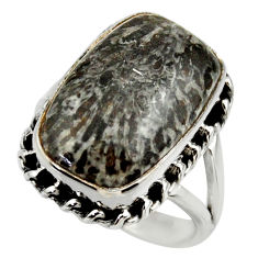 Natural black stingray coral from alaska 925 silver solitaire ring size 8 r28795