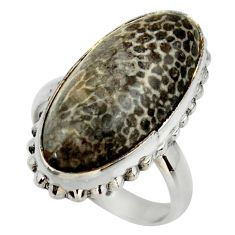 Natural black stingray coral from alaska 925 silver solitaire ring size 8 r28797