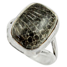 Natural black stingray coral from alaska 925 silver solitaire ring size 8 r28815