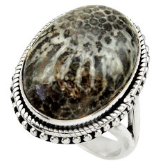 Natural black stingray coral from alaska silver solitaire ring size 8.5 r28817