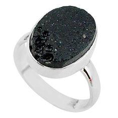 8.49cts natural black tektite 925 silver raise your vibration ring size 8 t14356