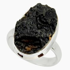 11.64cts natural black tektite 925 silver solitaire ring jewelry size 7.5 r34222