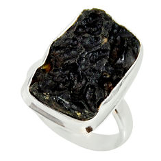 14.10cts natural black tektite 925 silver solitaire ring jewelry size 8.5 r34225