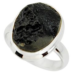 8.21cts natural black tektite 925 silver solitaire ring jewelry size 7.5 r34236