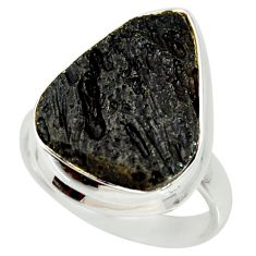 14.07cts natural black tektite 925 silver solitaire ring jewelry size 7.5 r34238
