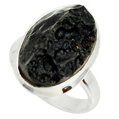 12.07cts natural black tektite 925 silver solitaire ring jewelry size 7.5 r34241
