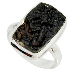 9.30cts natural black tektite 925 silver solitaire ring jewelry size 7.5 r34247
