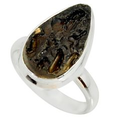 8.42cts natural black tektite 925 silver solitaire ring jewelry size 8.5 r34248