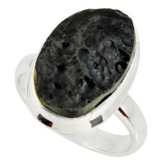 10.84cts natural black tektite 925 silver solitaire ring jewelry size 7.5 r34259