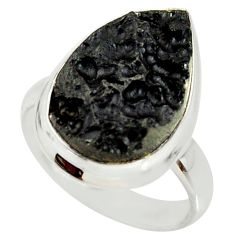 11.66cts natural black tektite 925 silver solitaire ring jewelry size 7 r34221