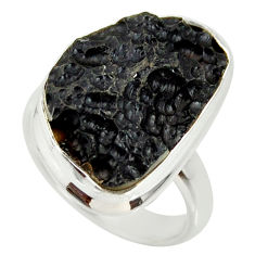 12.36cts natural black tektite 925 silver solitaire ring jewelry size 7 r34227