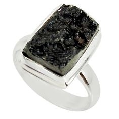 5.27cts natural black tektite 925 silver solitaire ring jewelry size 7 r34255