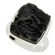 13.26cts natural black tektite 925 silver solitaire ring jewelry size 8 r34226