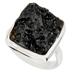 11.95cts natural black tektite 925 silver solitaire ring jewelry size 8 r34229