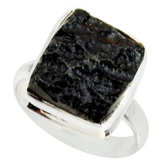 8.54cts natural black tektite 925 silver solitaire ring jewelry size 8 r34230