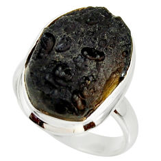 12.34cts natural black tektite 925 silver solitaire ring jewelry size 8 r34231