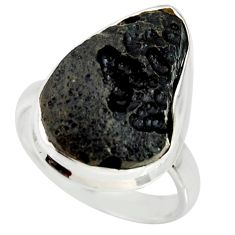 12.52cts natural black tektite 925 silver solitaire ring jewelry size 8 r34233