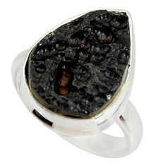 11.57cts natural black tektite 925 silver solitaire ring jewelry size 8 r34243