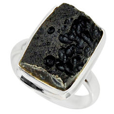 10.64cts natural black tektite 925 silver solitaire ring jewelry size 8 r34250
