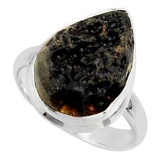 12.14cts natural black tektite 925 sterling silver ring jewelry size 8.5 r42442