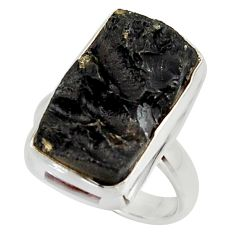 10.89cts natural black tektite 925 sterling silver ring jewelry size 6.5 r42448