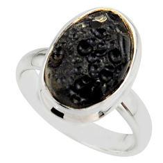 6.58cts natural black tektite 925 sterling silver ring jewelry size 7.5 r42450
