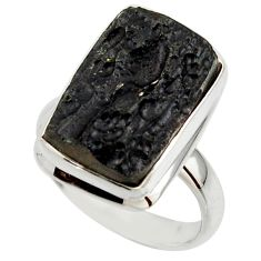 10.34cts natural black tektite 925 sterling silver ring jewelry size 7.5 r42453