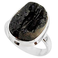10.34cts natural black tektite 925 sterling silver ring jewelry size 7.5 r42454