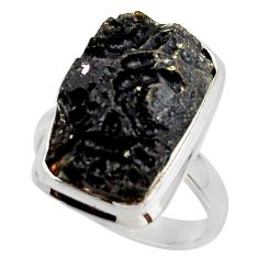 13.38cts natural black tektite 925 sterling silver ring jewelry size 8.5 r42459