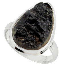 13.78cts natural black tektite 925 sterling silver ring jewelry size 8.5 r42460