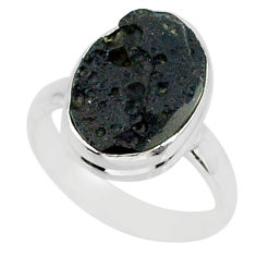 6.62cts natural black tektite 925 sterling silver ring jewelry size 7.5 r88673