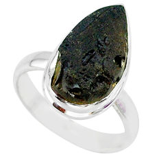 8.19cts natural black tektite 925 sterling silver ring jewelry size 8.5 r88690