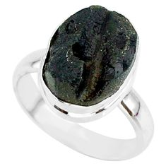 6.62cts natural black tektite 925 sterling silver ring jewelry size 7.5 r88744