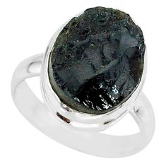 9.47cts natural black tektite 925 sterling silver ring jewelry size 7.5 r88749