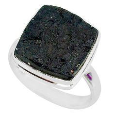 11.48cts natural black tektite 925 sterling silver ring jewelry size 10 r88736