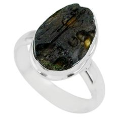 5.35cts natural black tektite 925 sterling silver ring jewelry size 6 r88665