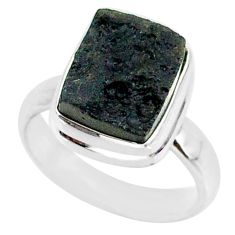 5.47cts natural black tektite 925 sterling silver ring jewelry size 6 r88685